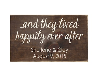 They Lived Happily Ever After Rustic Wood Wedding Sign / Personalized Wedding Gift / Anniversary Gift (#1684)