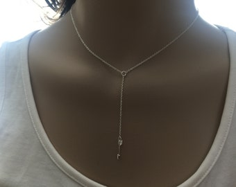 Arrow lariat necklace. Arrow Y necklace. Arrow charm necklace, Dainty All Sterling Silver arrow Necklace -  Arrow necklace