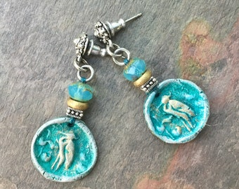 Unusual Artisan Blue Heron Earrings, Boho Bohemian Hippie Gypsy Jewelry, Summer Earrings, OOAK Eclectic Earrings