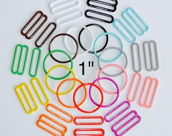 "1"" (25mm) Bra Sliders & Rings - 12 Color Choices - Nylon Coated Metal - Headband Adjusters"