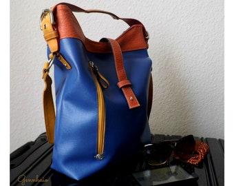 Vegan Leather Hobo Bag, Blue Hobo Bag, Shoulder Hobo Bag, Faux Leather, Shoulder Purse, Orange Handbag, Hobo Bag, Gift Idea, Everyday Bag