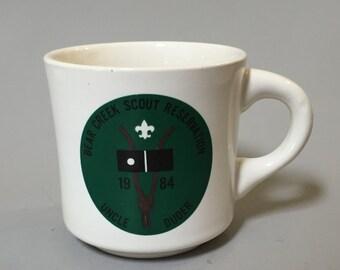 VINTAGE BOY SCOUT Mug, Bear Creek Scout Reservation mug, Uncle Duder Mug, 1980s Boy Scouts collectible, vintage ceramic mug, Scout mug