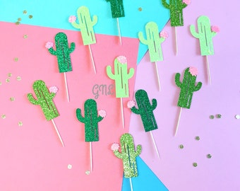 12CT Cactus Decor Cupcake Topper, Tropical Decor, Fiesta Party,Cactus Picks, Taco Party