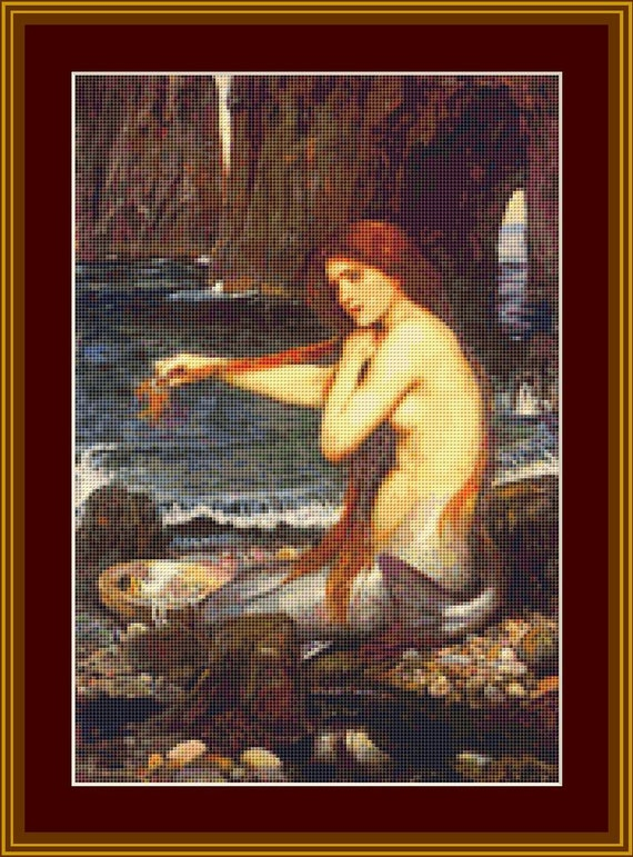 A Mermaid Cross Stitch Pattern /Digital PDF Files /Instant downloadable