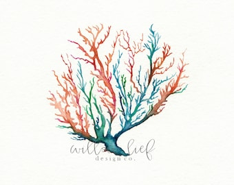 No. 5 Sea Coral, Wall art, Watercolor, beach art