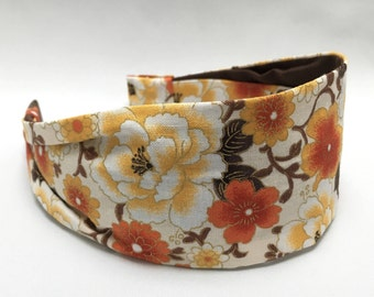 Wide fabric headband, Women's headband, Japanese floral fabric, gift for women, aliceband, yoga gift