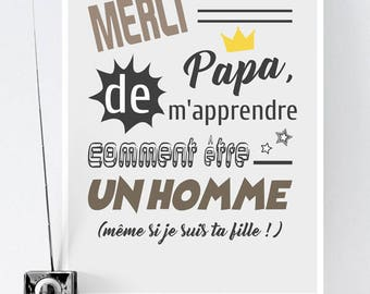 A3 - Paper Poster - Thanks Dad - Father's Day, Birthday, Dad, Father, Man, Gift, Download, File - A