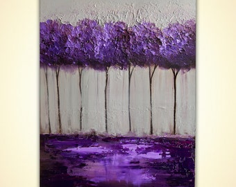 Modern Abstract Painting Purple Gray Acrylic Painting Palette Knife Modern Acrylic Impasto Landscape by Osnat Tzadok