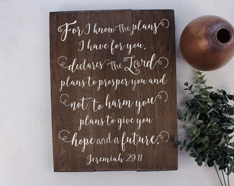Jeremiah 29 11 Wall Art For I know the plans Wood Bible Verse Art Nursery Bible Verse Art Wooden Bible Verse Sign