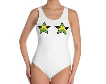 83d31c78f3 Jamaica swimsuit Jamaican flag swimsuit Jamaica one piece swimsuit Jamaica  color Bathing suit Jamaica Swimwear clothing