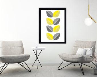 Geometric print, Minimalist print, scandi print, mid century, hygge print, Contemporary, Modern art, Wall art, grey and yellow print