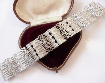 Post modern sterling cuff bracelet | German brutalist contemporary style | vintage signed UNIDOR | cast sterling silver