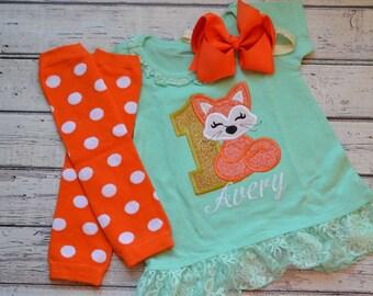 Fox Dress, Girls Applique Fox Dress,