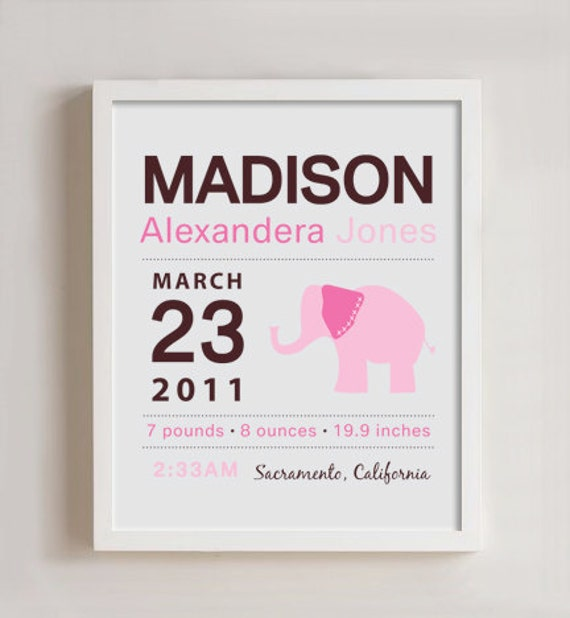 custom birth announcements  8 x 10 Custom Birth Announcement Print Elephant Wall art