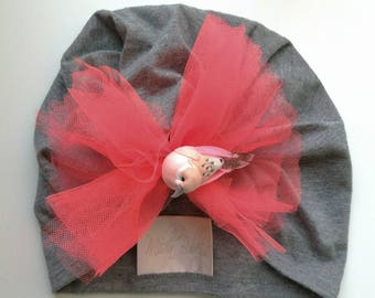 Put A Bird On It Baby Turban,Repurposed,Infant,Child,Christmas,Gift,Stocking Stuffer,Birthday,Rhinestone,Pink,Grey,ALADDIN,Girl,Baby Shower