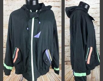 Vintage 80's 90's Windbreaker - Neon Nylon Jacket - Hip Hop Jacket - Nylon Windbreaker - Hooded Windbreaker - Large - Be in the current seen