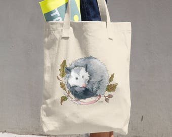 Possum with Oak Leaves Canvas Tote Bag