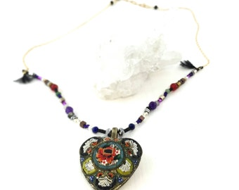Micro Mosaic Beaded Gold Necklace, Micro Mosaic Necklace, Gold Necklace, Beaded Necklace, Gemstone Necklace, Gemstone Jewelry, Micro Mosaic,