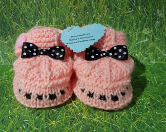 Peach Baby booties, bow  baby shoes, baby boots,baby slippers,baby gift, knitted baby booties, baby shower, newborn, handmade