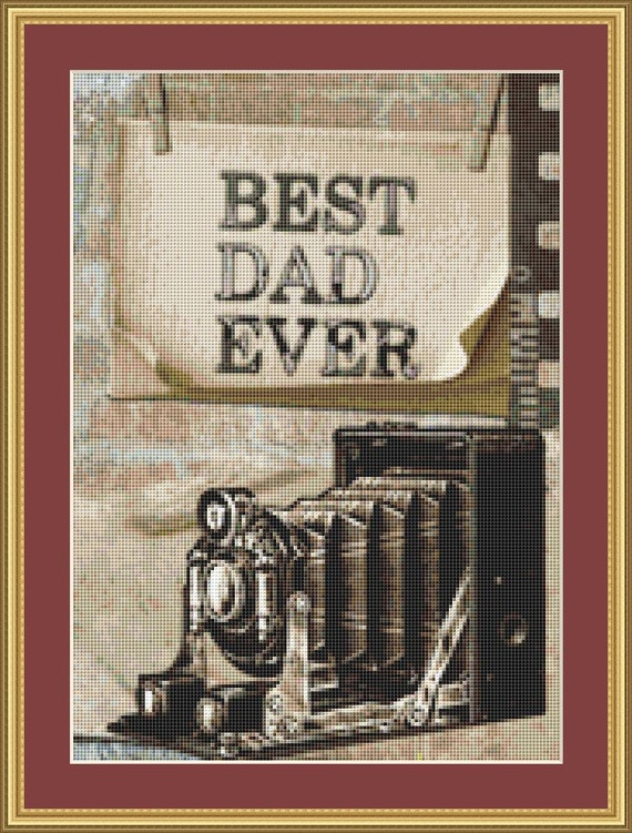 Best Dad Ever Cross Stitch Pattern /Digital PDF Files /Instant downloadable
