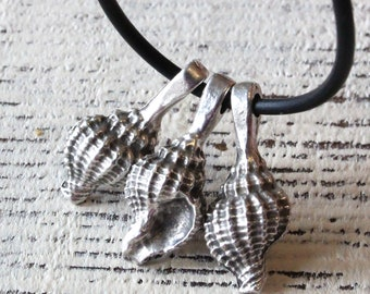 Mykonos Conch Shell Pendant - Pewter Charms - Beads For Jewelry Making - Sea Life Jewelry Findings And Parts Charm - Choose Amount