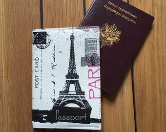 Protects Passport - Holster Passport leather - Paris Eiffel Tower