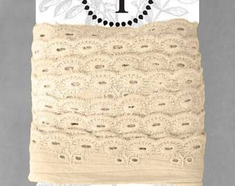 Naturally Dyed Organic Cotton Lace, 2.75cm wide - Sand *sold by the 5m card*