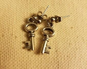 Silver key dangle earrings