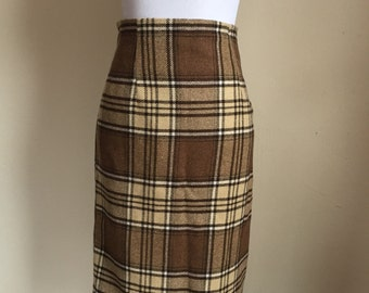Vintage 1970's Brown Wool Plaid Pencil Pinup Skirt Size Small S