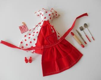 Vintage Homemade Dress with Apron and Utensils - Nice!