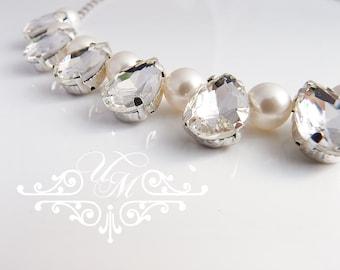 Wedding Necklace Single Strand Swarovski Pearl Necklace Rhinestone teardrop Necklace Bridal Necklace Bridesmaids Necklace - RACHEL
