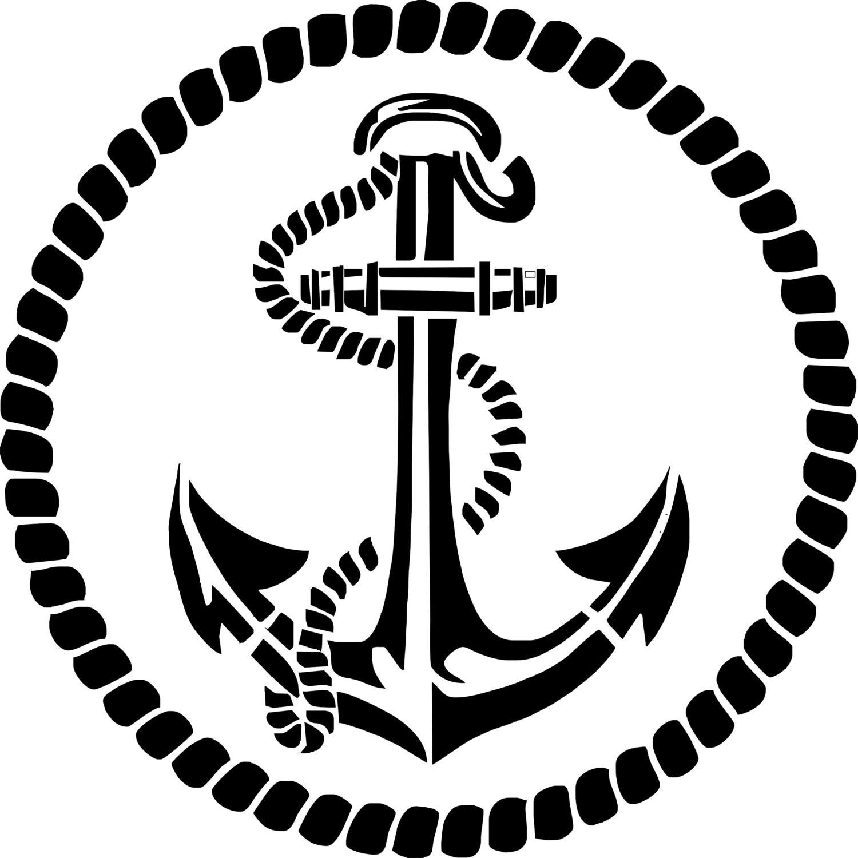 Stencilpochoir ancre marine deco marine avec son - Ancre marine dessin ...