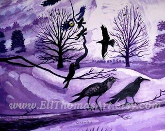 crows native american art,  Eli Thomas Art print , totem crow art, purple home decor, spirit art print, black crow, nature art, wildlife art