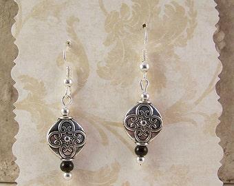 Silver Teardrop Earrings, Silver Black Onyx Earrings, Silver Jewelry, Black Onyx Jewelry, Bohemian Earrings, Birthday Gifts for Her Women