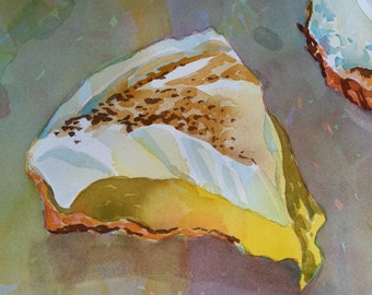 Original watercolor, lemon meringue pie