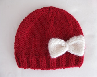Pattern knit preemie newborn hat bow baby beanie 8ply DK double knit light worsted girl red pdf embellish applique stockinette prem