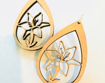 Wood Lily Earrings - Eco-friendly Fashion Besties, Sisters, Mom, LDR, 5th Anniversary
