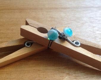Round turquoise-pop stud earrings - kiln fired glass Z Series 17