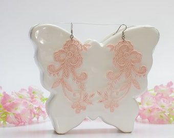 Pale pink floral earrings, Chandelier earrings, Dangle lace earrings, Wedding earrings, Pink lace earrings, Lace gift for her /