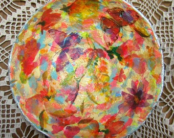 Handmade art decor, Centerpieces with flower and butterfly decoupage, Beautiful candy dish Bright fruit plate Paper mache bowl Home accents