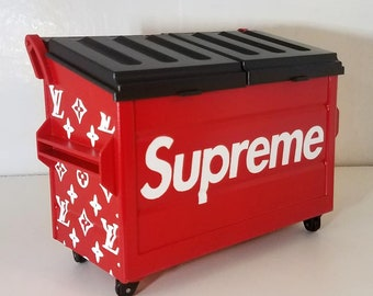 Hand painted Supreme x Louis Vuitton inspired Dab Dumpster