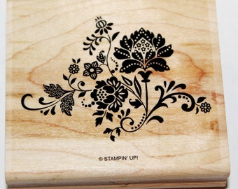 Shabby Chic Flowers and Swirls Rubber Stamp retired from Stampin Up