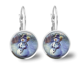 Christmas Earrings Christmas Jewelry Tile Earrings Snowman Earrings Snowman Earrings Beaded Jewelry Holiday Jewelry Holiday Earrings