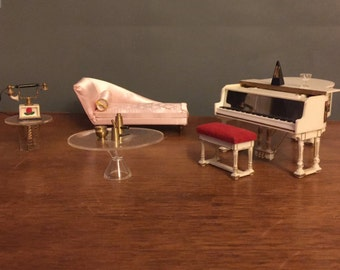 Hollywood Regency Living Room Set Petite Princess Ideal Miniature Dollhouse Furniture 1960s 60s Vintage