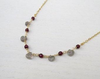 Red garnet necklace gold, Labradorite necklace