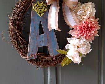 Custom letter A wreath.