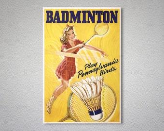 Badminton Vintage Tennis Sport Poster - Poster Print, Sticker or Canvas Print / Gift Idea