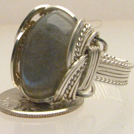 Wire Wrap Labraborite Silver Ring 18x13mm