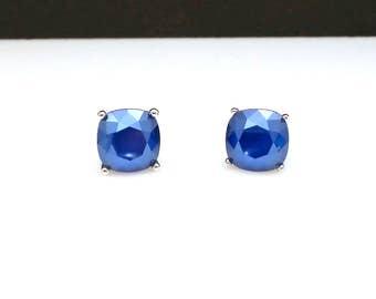 christmas prom bridal wedding bridesmaid jewelry gift Swarovski royal blue square cushion cut foiled rhinestone silver stud post earrings