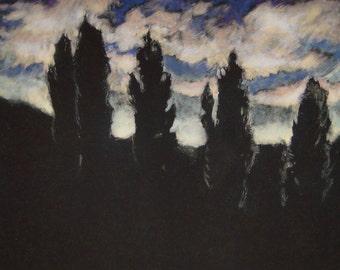 Ursprüngliche Landschaft Kunst Monotype Drucken w/Kreide Pastell Landschaft-Studie